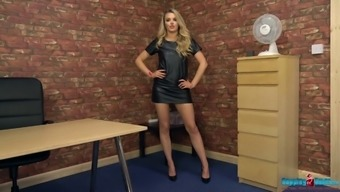 Leggy blonde in short dress Ashley Jayne takes off her clothes and dances