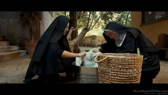 Spoiled and sexy blonde nun Charlotte Stokely sinfully masturbates