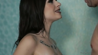 Awesome all natural brunette Lacey Channing lets dude rub her clit in shower