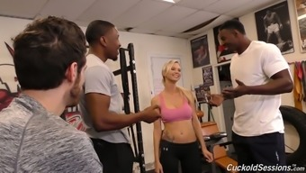Horn-mad Astrid Star works on two strong BBCs in the gym (FMM)