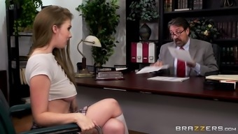 Lena Paul lifts up her skirt for a proffesor's erected penis