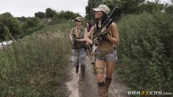 Three of the most alluring army girls and the fat cock of their buddy