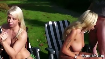 Mother and Step-Daughter fuck two Stranger Outside in Park