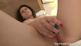 Playful Teen Strips and Masturbates Gaping Pussy with Vibe