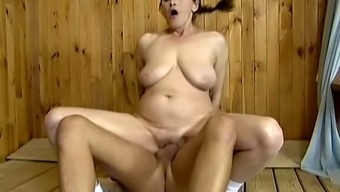 Ugly old whore with saggy boobs Marge provides bald man with a BJ