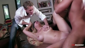 Curvy blonde babe with natural tits gets blindfolded then drilled hardcore
