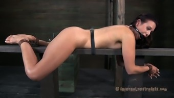 The brunette slave girl looks so sexy with leather cuffs and chains all over her body