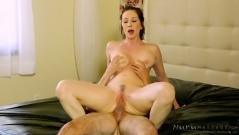 Busty curvy blackhead gets her kitty stretched in cowgirl and reverse poses rough