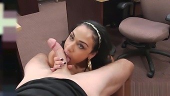 Big ass gal takes it from behind for money in pawnshop