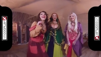 VRCosplayX Halloween Foursome With Brutal Witches HOCUS POCUS A XXX