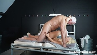 Old pervert has the honor to fuck sexy young blonde Daisy Dawkins