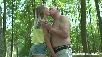 Old dude seduces lovely young blonde Lily Ray and bangs her in the park