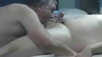 Grandpa Bill and I play with hairy daddy bear in a motel room