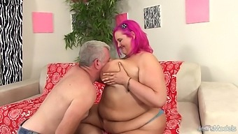 Busty Pink Haired BBW Sara Star Bounces on Grandpas Big Cock