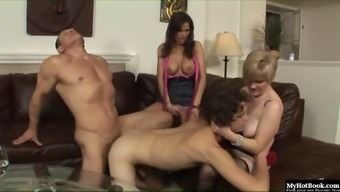 In this weird, MMFF, wife swapping, hardcore bisexual foursome