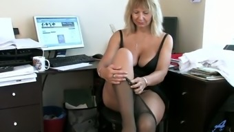 Amazing busty blonde lady in stockings Alex masturbates at work