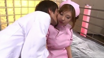 Japanese tight nurse gets her hairy pussy creampied by a doctor