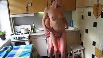 Teen couple have rough sex in the kitchen