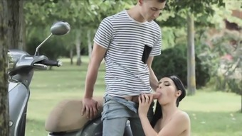 Ass fingering and bj by scooter in the park