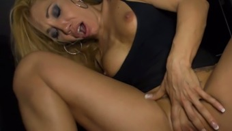 Blond Asian mommy with fake boobs gives solid foot fuck to her guy