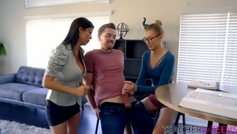 Juggy teacher Alexis Fawx shows how to jerk off a big dick and take it in wet pussy