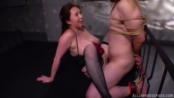 Kazama Yumi wears sexy lingerie and plays with the friend's hard penis