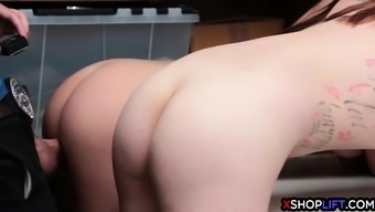 Teen sister thieves fucked by a security guards hard cock
