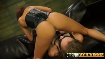 Mistress in latex puts on strapon and fucks blind folded and cuffed babe Charli Acacia