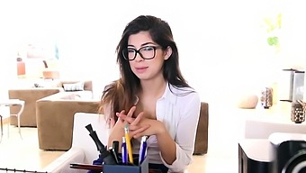 Clothed teen in specs pov
