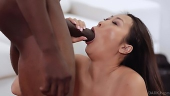 Interracial pounding with a stiff black cock and an Asian girlfriend