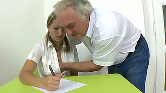 Attractive blonde college girl seduced by a horny grandpa