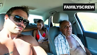 Street Slut Fucking with Grandpa, Son and Uncle