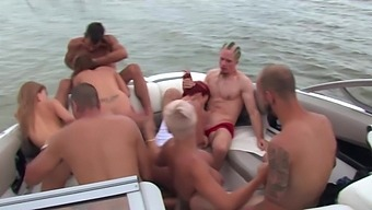Boat party leads the drunk bitches to insane fuck scenes