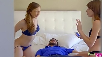 Alex Blake and Gracie Green are having a threesome with their best friend's husband, in his bedroom