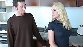Alexis Malone takes a big young cock in the kitchen
