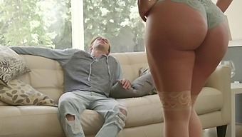 Aroused mom sure feels like giving her stepson a chance