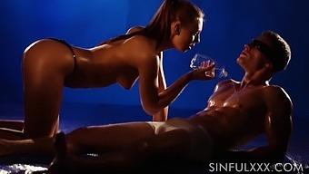 Amazing sex of super sexy babe and oiled up athletic man with abs